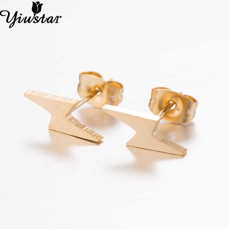 Yiustar Beauty S Kids Earrings Tiny Lighting Stud Charming Bolt Stainless Steel Ear Studs Beat Friend Gift