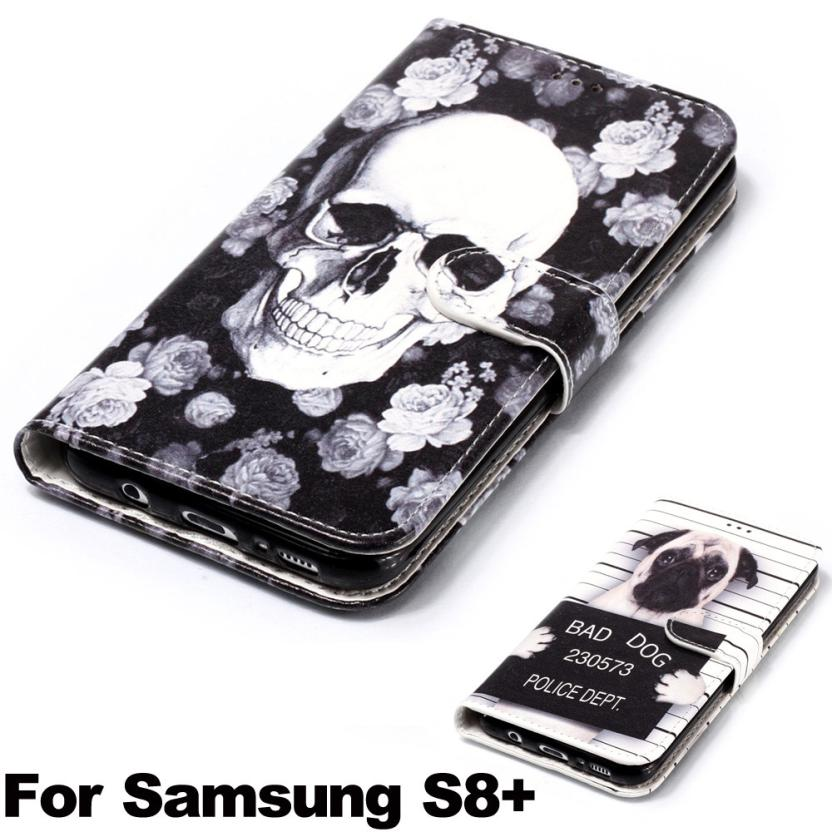 1 Pc Skull Dog Leather Flip Cover Card Wallet Case For Samsung S8+ 6.2 Inch