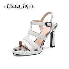 AIKELINYU 2019 Women Sandals High Heel Platform Roman Open Toe Buckle Womens Shoes Super Lady Classic