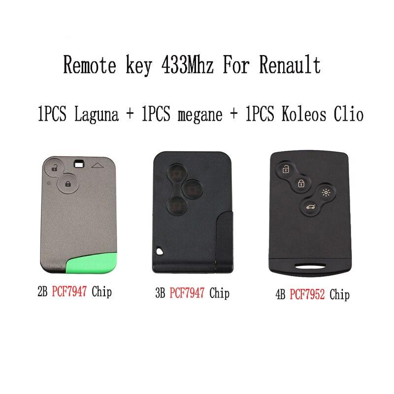 3pcs lot Smart Remote Key 2BT For Renault Laguna 2001 2006 3BT For Renault megane 4BT
