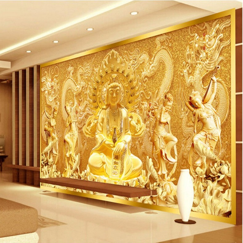 Free shipping 3d mural wallpaper entrance living room bedroom TV background wallpaper golden Buddha Guanyin Custom sizes  free shipping chinese ink classical retro wallpaper mural living room tv room wallpaper