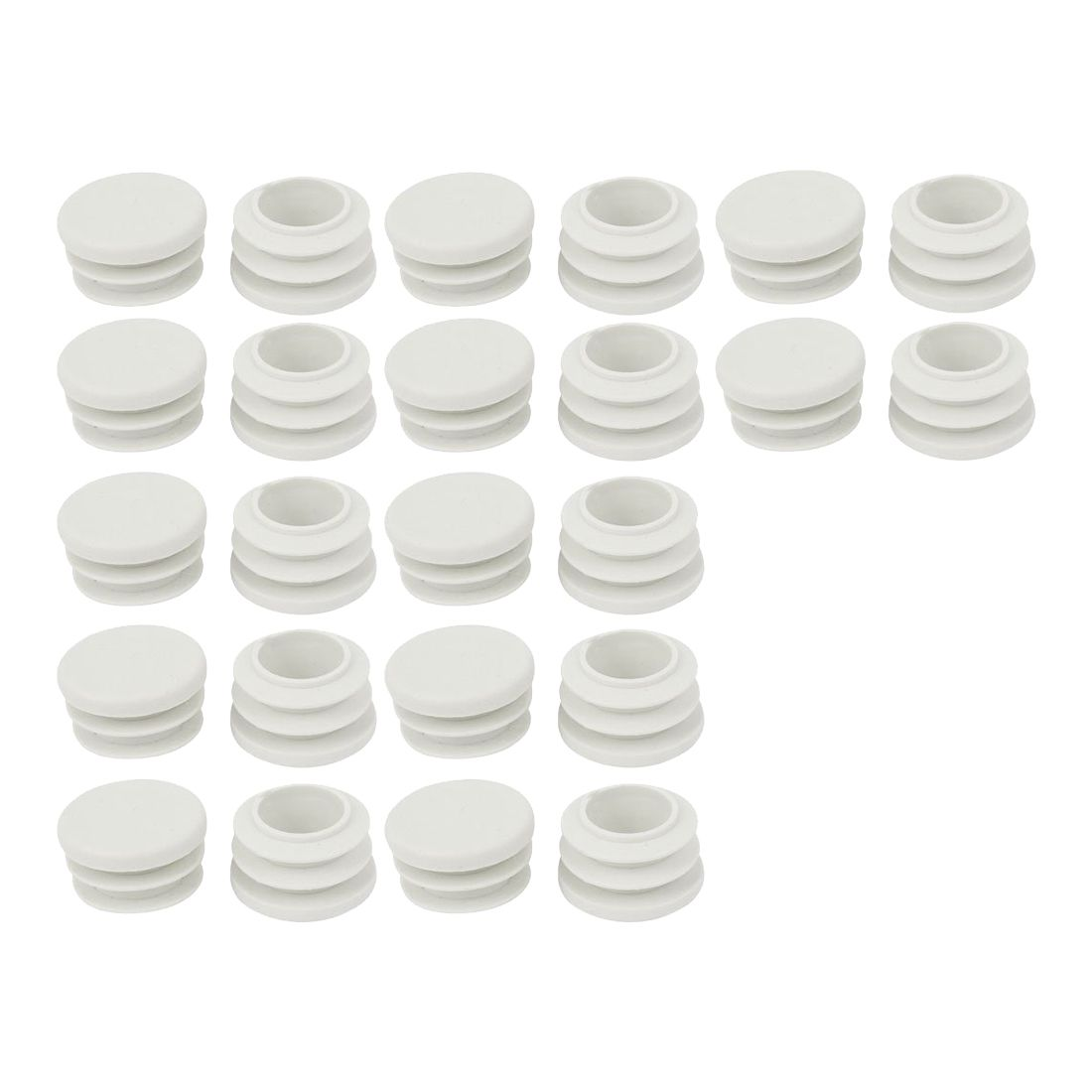 18mm Diameter Plastic White Plug Caps Inserts For Tubes Cap 24 Pieces