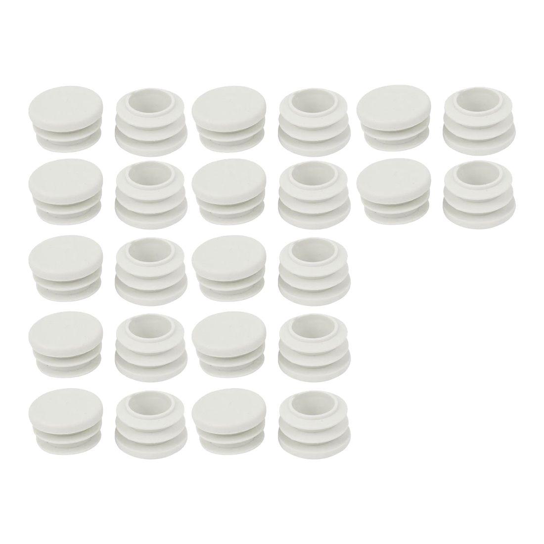 Frugal 18mm Diameter Plastic White Plug Caps Inserts For Tubes Cap 24 Pieces