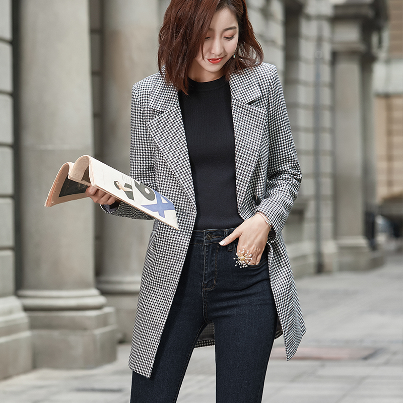 autumn and winter new small suit jacket female long section long sleeved casual suit jacket temperament retro Professional Women|Blazers| |  - title=