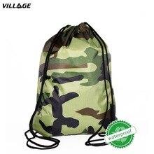 Vilge школьный камуфляжный рюкзак на шнурке для подростков, Мужская водонепроницаемая сумка на шнурке, упаковка кубиков, большая вместительность, Mochila
