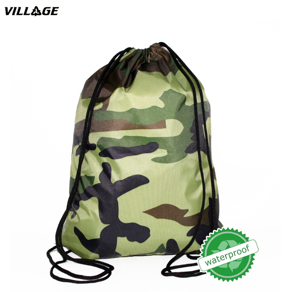 VILLGE SchoolBag Camo Drawstring Backpack For Teenage Men Waterproof Drawstring Bag Packing Cubes Large Capacity Mochila drawstring spliced camo jogger pants