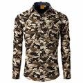 100% Marca de Moda de Algodón de Manga Larga Camisa Casual Hombres Camisa de Camuflaje Estilo Militar de Camo Cargo Plus Tamaño 4XL