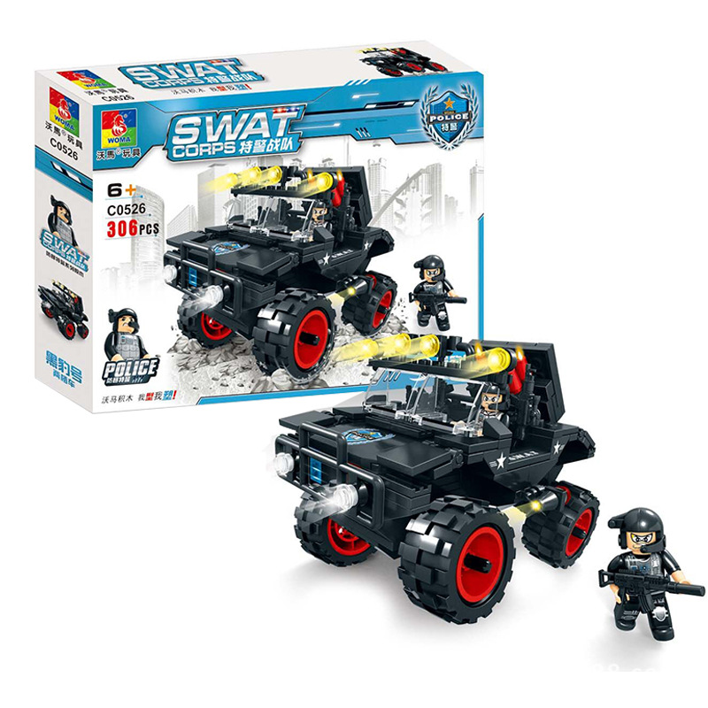City Swat Police Amphibious car with WheelS Military Building Block Set Policemen Minifigures Boys Educational Toys Compatible