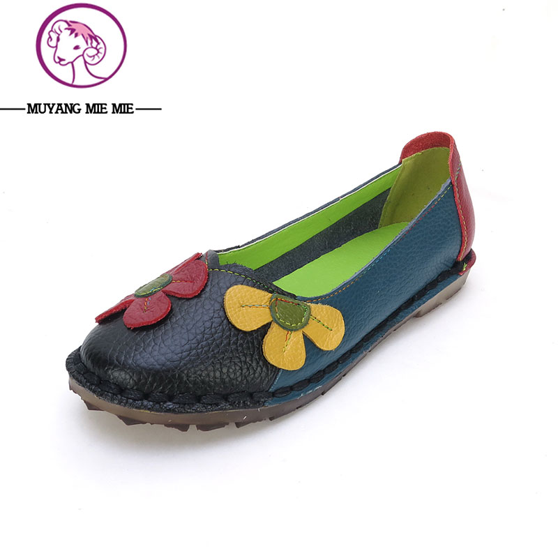 2017 Spring and Autumn Genuine Leather Women Flats Fashion Spell-colored Women Single Shoes Comfortable Breathable Women Flats vintage embroidery women flats chinese floral canvas embroidered shoes national old beijing cloth single dance soft flats