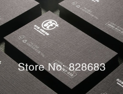 Image 2 - High quality black paper business card  300gms art paper from Belgium hot stamping foil UV spot 500 cards-in Business Cards from Office & School Supplies