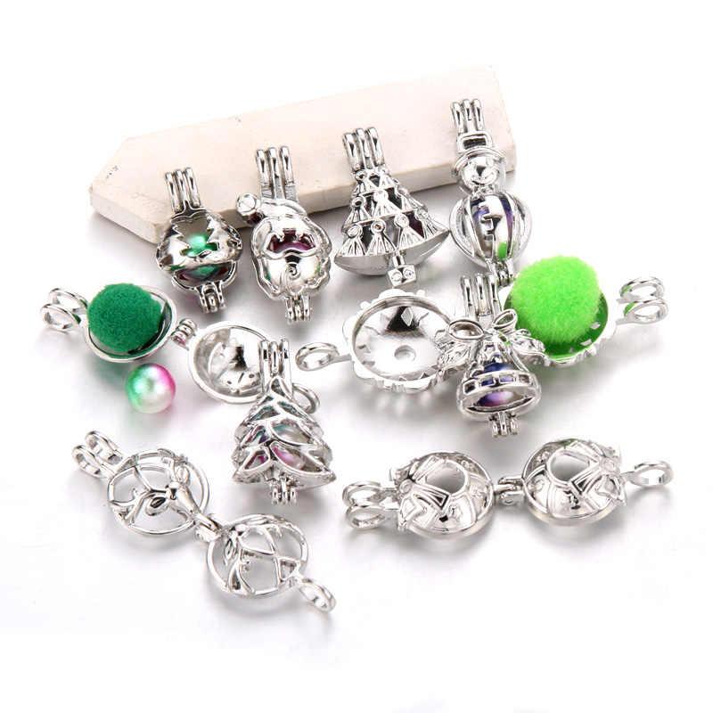 10 srebrne style świąteczne Pearl Cage medalion naszyjnik wisiorek tworzenia biżuterii Aroma dyfuzor olejków eterycznych dla Oyster Pearl