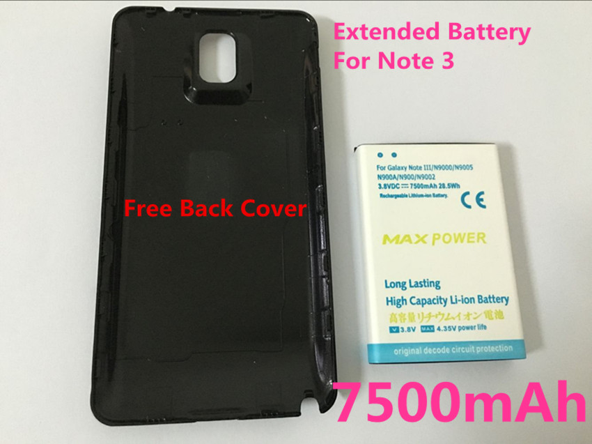 New High capacity Note 3 7500mAh Extended Battery+Black ...