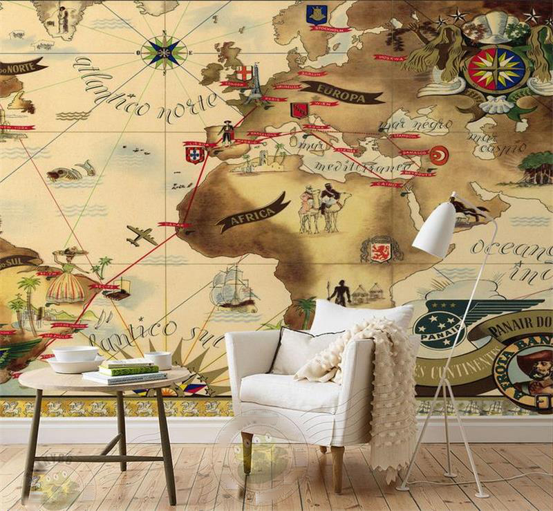 High-end Custom 3D Photo Wallpaper Room Non-woven Mural Retro Brazil aerial map Photo Painting Sofa TV Background Wall Wallpaper custom photo wallpaper 3d wallpaper mural wall painting ancient egyptian characters study room retro wallpaper mural