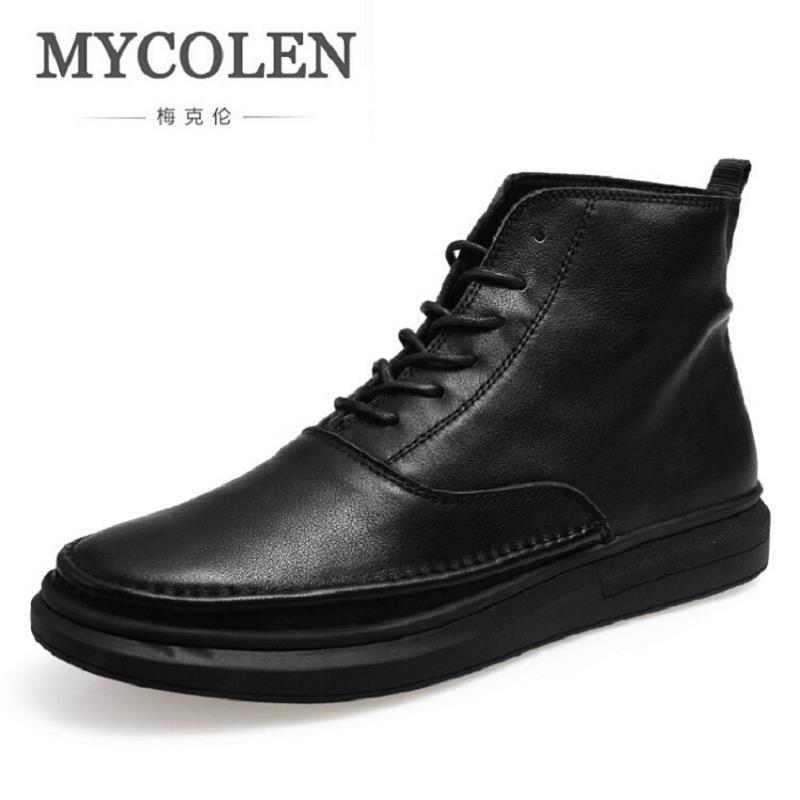 MYCOLEN 2017 New Autumn Winter British Fashion Men Casual Shoes Men High Tops Fashion Brand Black Leather Shoes Schuhe Herren mycolen new autumn winter men black casual shoes men high tops fashion hip hop shoes zapatos de hombre leisure male botas