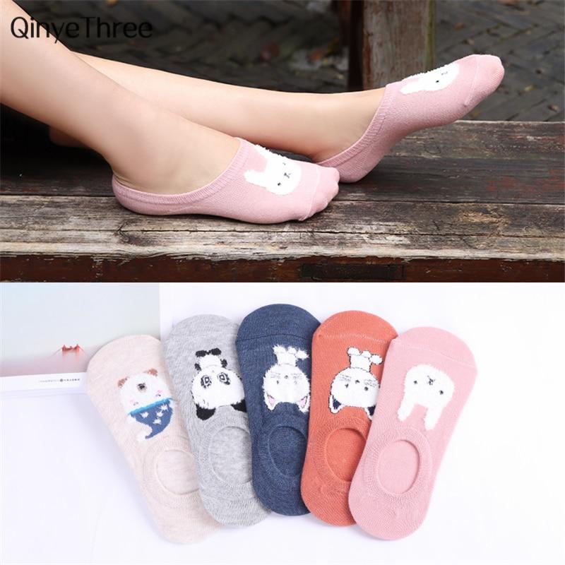 2018 New Fashion Women low cut Cotton   Socks   Kwakii Soft Summer Sox Cartoon Animal Sokken Panda/Rabbit/Bear/Cat Feather yarn   Sock