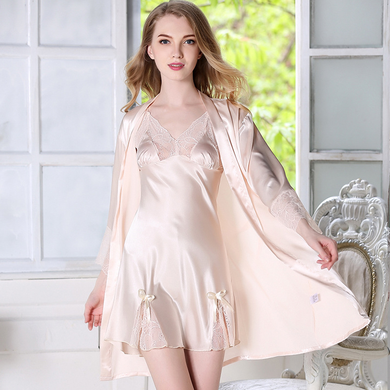 Women Satin Silk-like Robe Sets Deep V-neck Lace Patchwork bath robe femme Spring Summer Nightgown adjustable straps nightdress