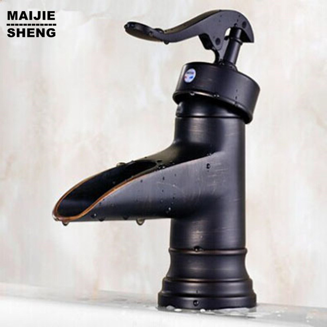 Bathroom antique black waterfall basin mixer sink faucet bathroom ...