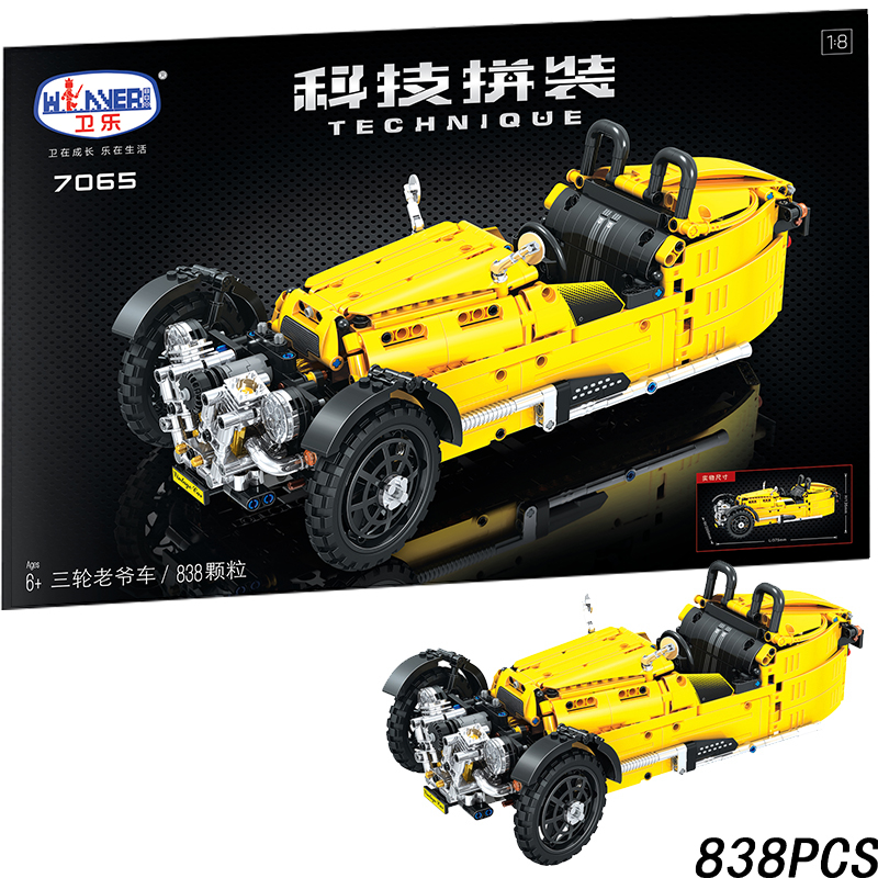 Classic Tricycle Jalopy Car 838pcs Technic MOC Vehicle Creator City Building Blocks Bricks DIY Model Toys