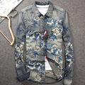 2016 New Spring Fall Fashion Man's Floral Printed Pattern Slim Fit XXXL Denim Shirt , Stylish Flower Jeans Shirts Blouse For Men