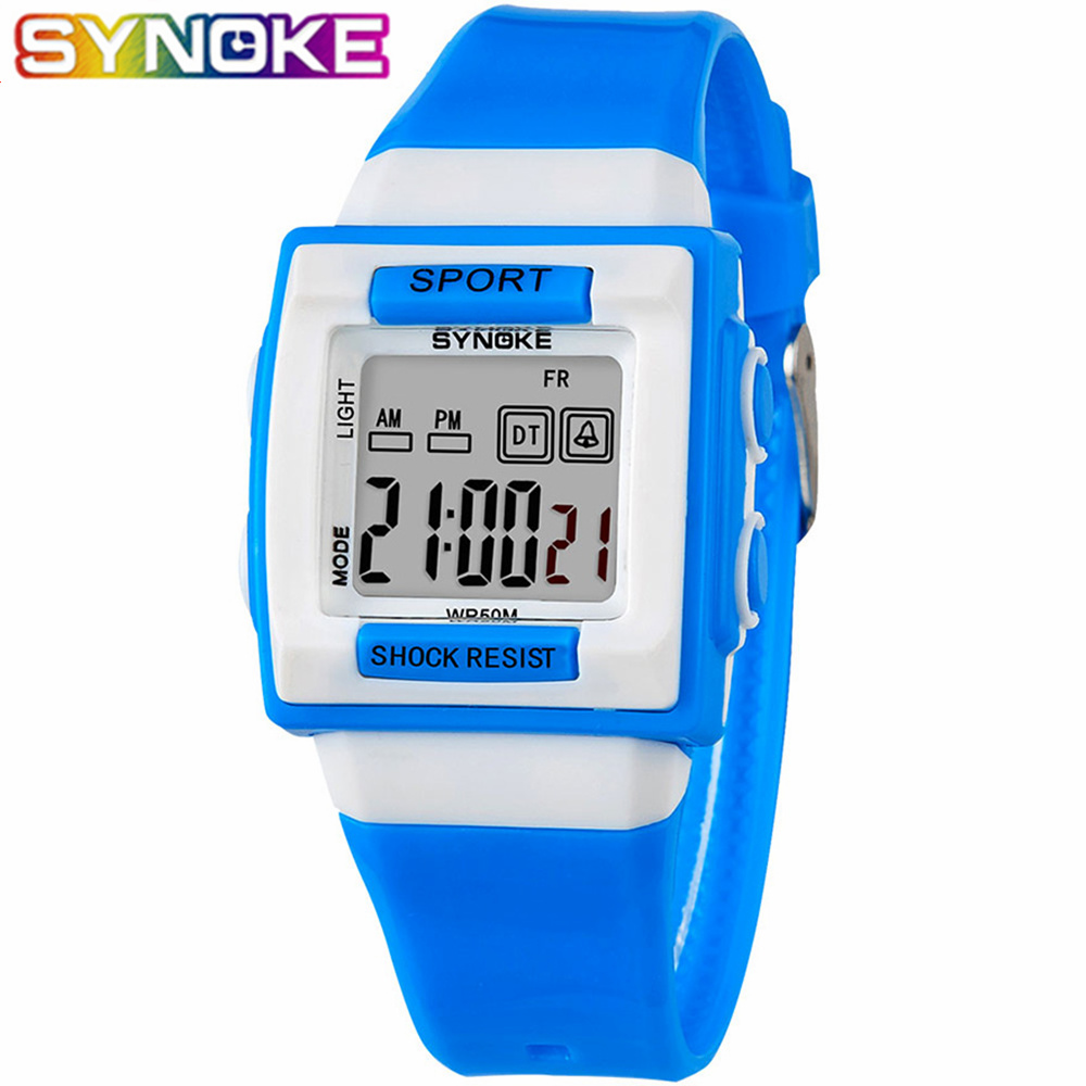 SYNOKE New Children Watches Cute Kids  Sports Watch For Girls Boys Rubber Children's Digital LED Wristwatches Reloj