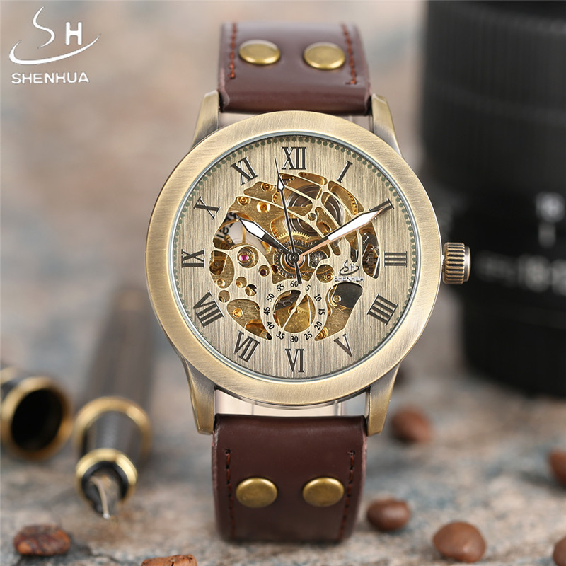 Mens Luxury Watches Top Brand SHENHUA Auto Mechanical Wristwatch Leather Strap Watch for Men Skeleton Clock Relogio Masculino mens mechanical watches top brand luxury watch fashion design black golden watches leather strap skeleton watch with gift box