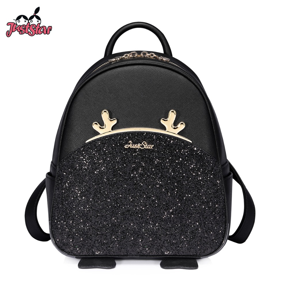 Just Star Brand Women's Leather Backpack Female Fashion Cartoon Deer Horn Tassel Double Shoulder Bags Ladies Travel Backpack