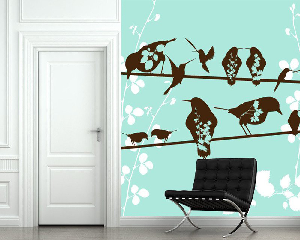 Birds Sitting On A Wire Flowers Bird Wallpaper Fresco For Children