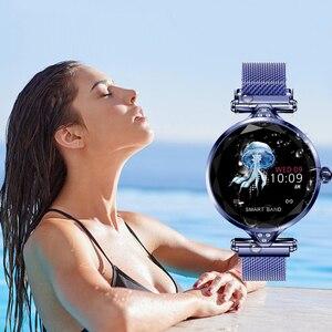 Image 5 - 新しい女性ファッションスマートウォッチウェアラブルデバイス bluetooth 歩数計心拍数モニターアンドロイド/ios スマートブレスレット