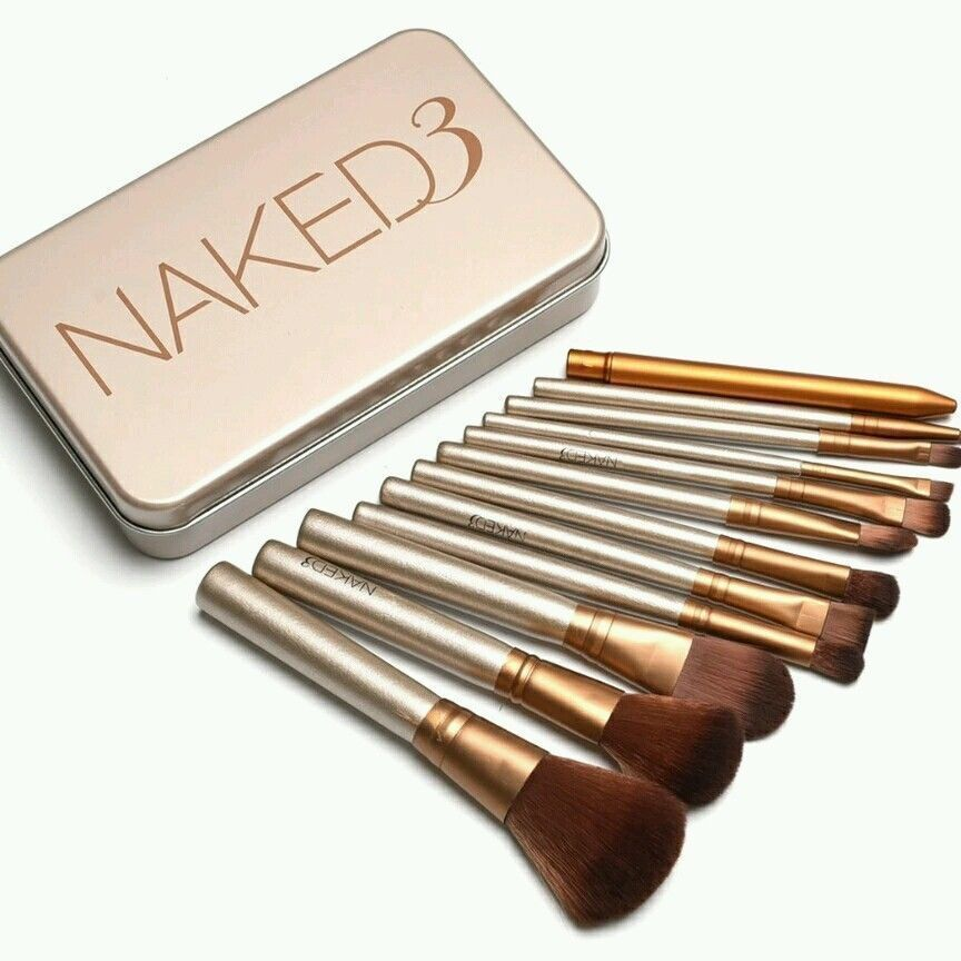 1 Set Naked3 Makeup Brush 12Pcs Set Cosmetic Brushes Blusher Eye Shadow Consealer Lips