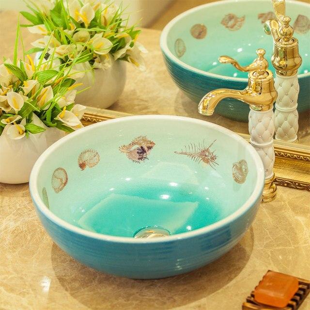 Neue Design Europa Stil Handgemachte Lavabo Keramik Waschbecken  Künstlerische Waschbecken Arbeitsplatte Kunstkeramikbecken