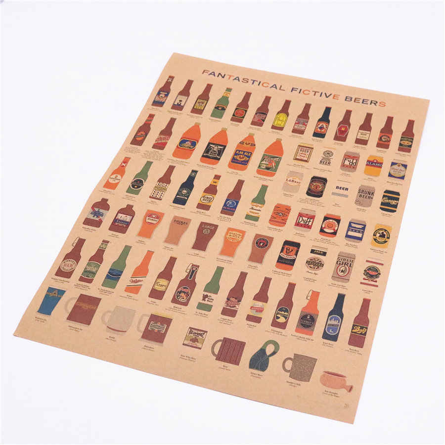 Wine beer Encyclopedia of Graphic Evolutionary Pub Bar Vintage paper Kitchen Retro Poster retro painting Wall Sticker 42x30cm