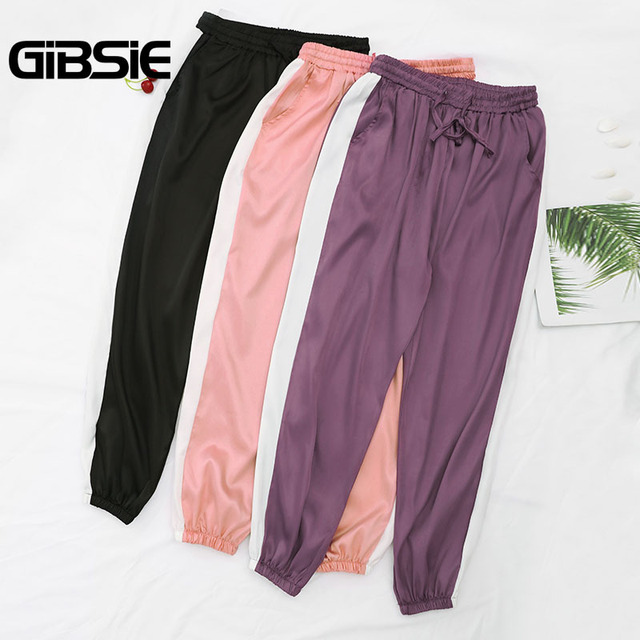 GIBSIE Plus Size Women Clothing 5XL 4XL 3XL Summer Color Block Satin Trousers Women Sweatpants Casual High Waist Harem Pants 3