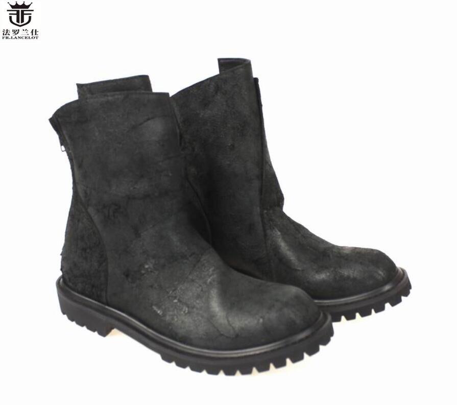FR. LANCELOT 2019 hiver hommes bottes mode dos zip bottes sans lacet en cuir imprimé motos chaussons talon épais travail chaussons