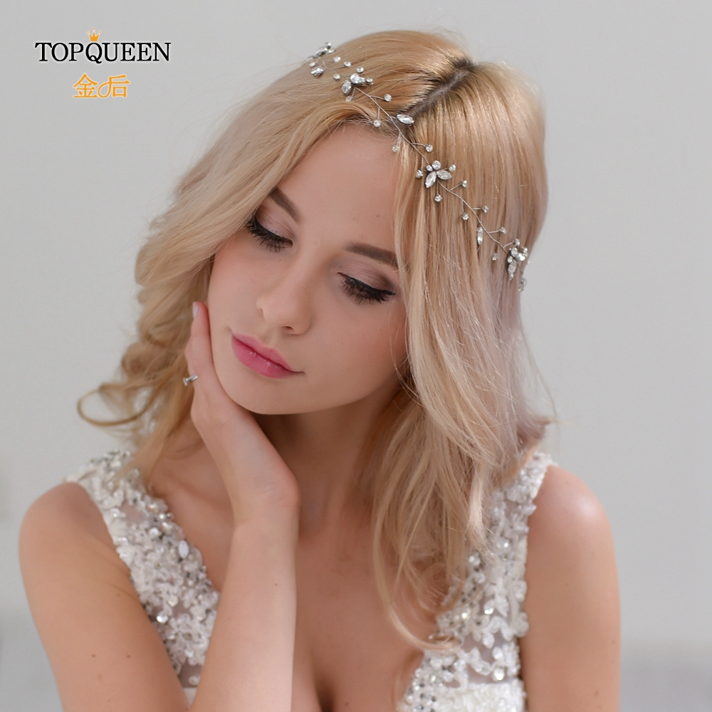 TOPQUEEN HP11 Two Colors Wedding Hair Jewelry Wedding Tiara Bridal Hair Accessories Wedding  Headbands For Bride Headpieces