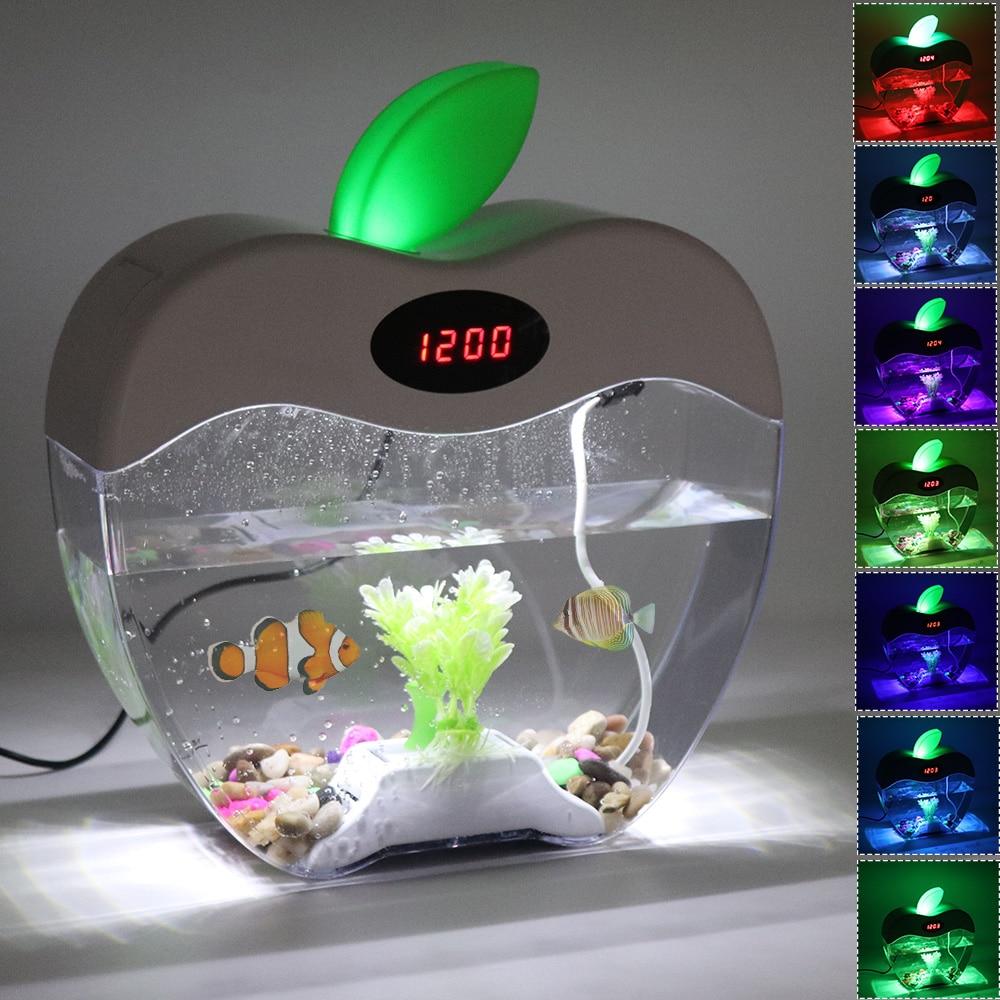 2 2L Desktop Fish Tank with LED Clock Color Light DC 5V USB Aquarium Fishbowl Acrylic