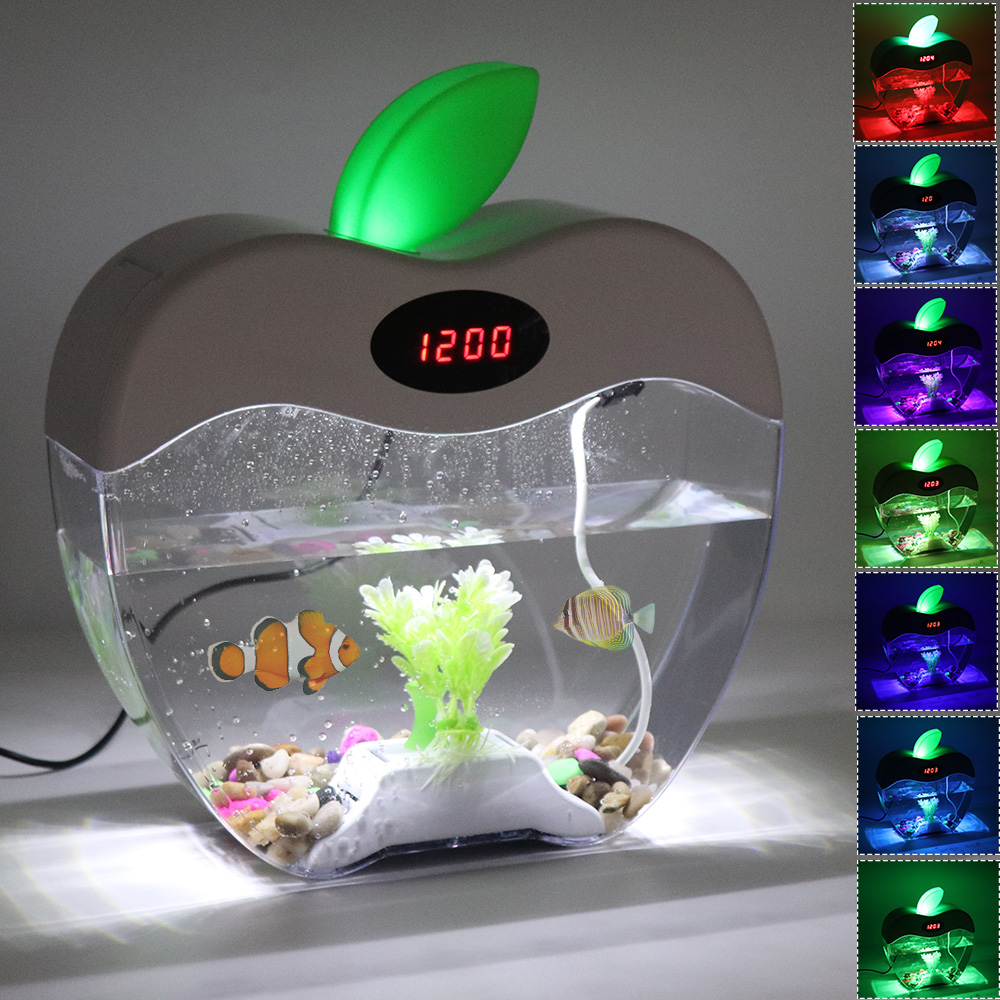 2.2L Aquarium de bureau avec horloge LED lumière de couleur DC 5V USB Aquarium Fishbowl acrylique Mini poisson bol maison bureau décoration