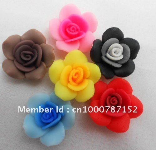 High Quality Wholesale Price 60x Mixed lots Assorted Flower Clay Polymer Jewellery Findings Beads 25mm Fit Bracelets