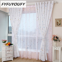 Cloth Curtain Baby Kids Room Curtains Pastoral Stlye Cartoon Curtain For Children Room Semi Blackout With