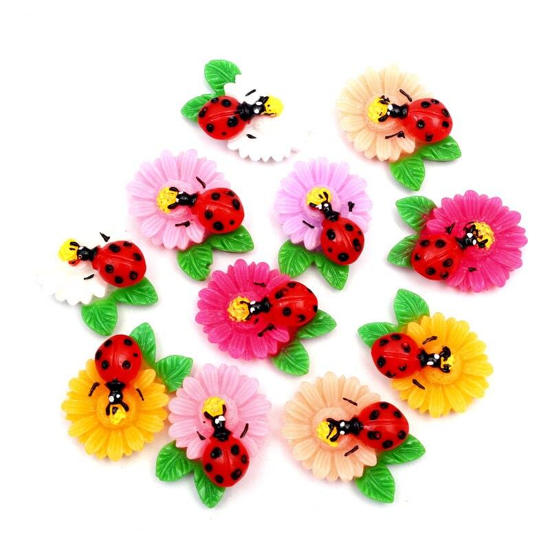 30 шт. смешанные Жук цветок украшения из полимерной глины рамка из бисера Кабошоны для скрапбукинга Kawaii DIY детали для украшений