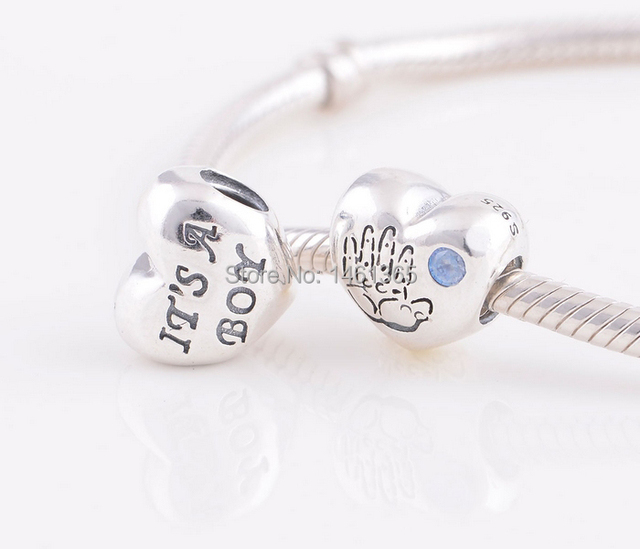 New S925 Sterling Silver Baby Boy Heart With Blue Cz Charm Beads Fits European Pandora Bracelets