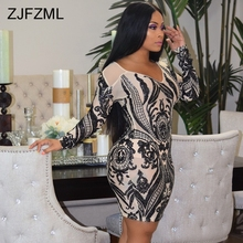 Sparkly Sheer Sequins Patchwork Sexy Dress Women Black V Neck Long Sleeve  Club Party Dress Elegant 83ef150c30c8