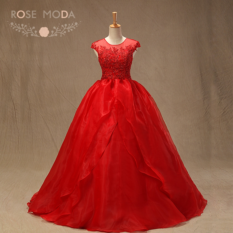 Anime Ball Gown White With Red Roses: Rose Moda Stunning Red Ball Gown Short Cap Sleeves Lace