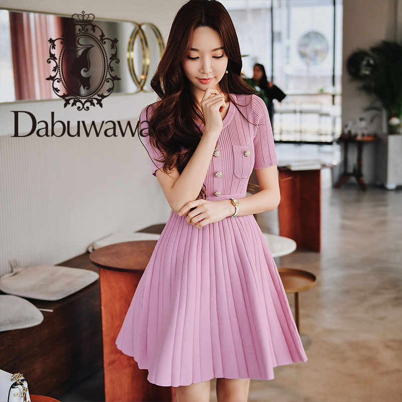 Dabuwawa Women s Knitted Dress 2019 New Summer Elegant O Neck Short Sleeve Slim Short Dress