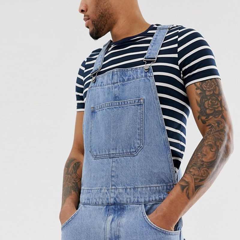 NIBESSER 2019 летние мужские синие Черные короткие джинсовые комбинезоны модные рваные джинсы комбинезон шорты мужские трендовые джинсовые брюки на подтяжках