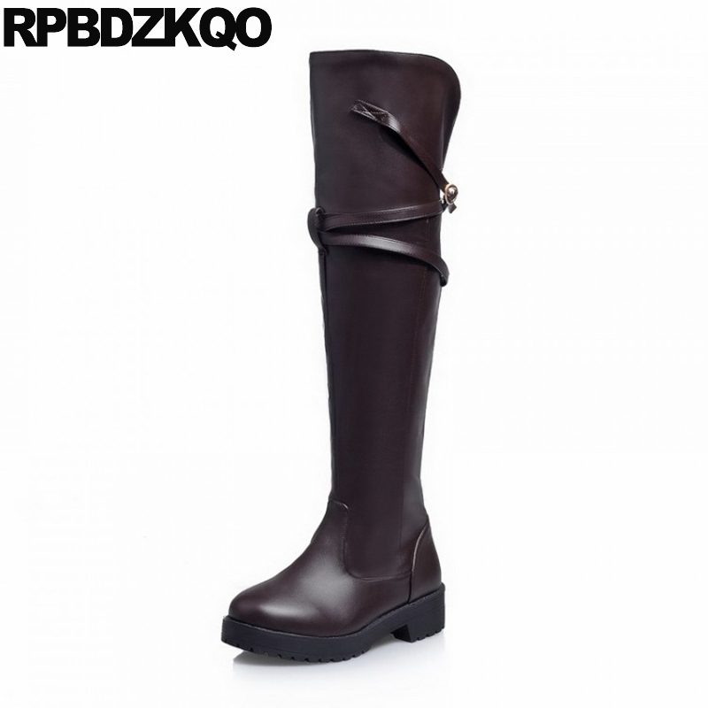Brown Thigh High Boots For Plus Size Women 10 Wide Calf Equestrian Knee Japanese Riding Slip On Fall Low Heel Long Cartoon Belts nayiduyun new thigh high shoes women wedge slip on over the knee boots high heel punk sneaker oxfords platform riding greepers