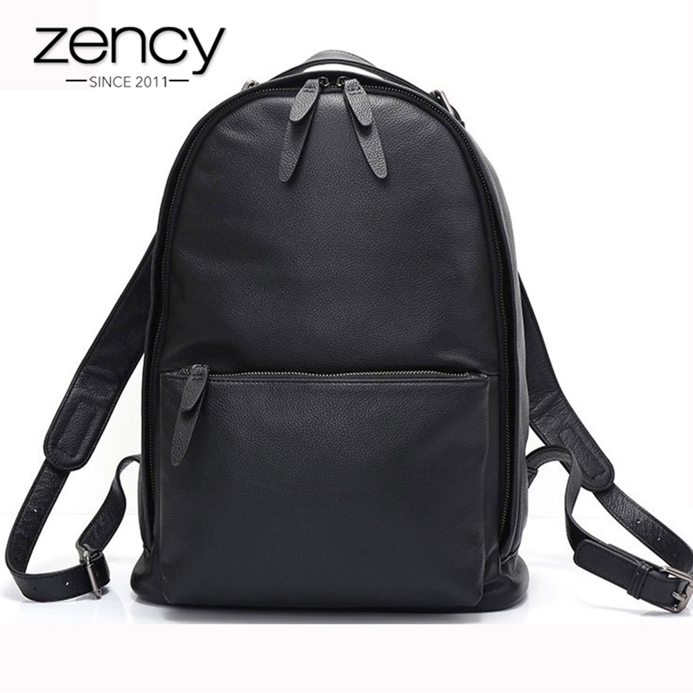 Zency New Model Women Backpack Real Cow Soft Skin 100% Genuine Leather Ladies Vintage Simple Travel Bags Schoolbag High Quality yuanyu 2018 new hot free shipping real python skin snake skin color women handbag elegant color serpentine fashion leather bag
