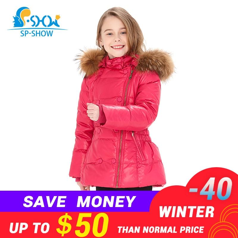 SP SHOW Luxury Brand Children Winter Coat Girls Raccoon Fur Hat Thick Fleece Hooded Jacket Down