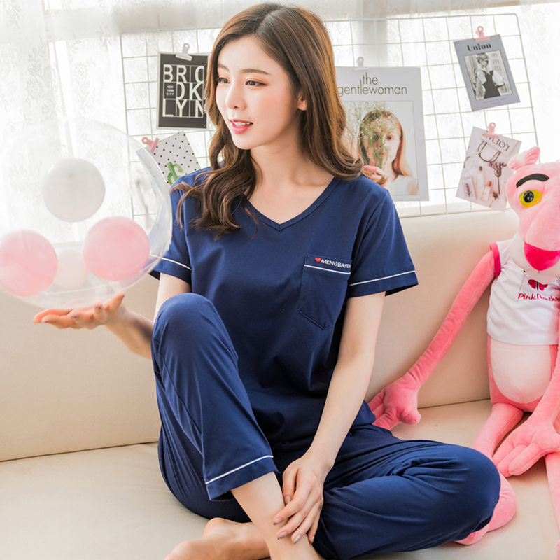 Women's Sleepwear Summer Short sleeve Cotton Trousers Pajamas Set Ladies pajamas