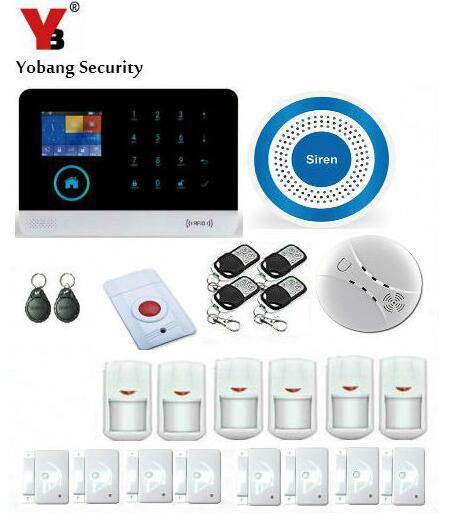 Yobang Security APP Control RFID Wireless WIFI SMS 3G GPRS Alarm With Blue Flash Siren Panic Button Motion/Smoke Alarm Kit 16 ports 3g sms modem bulk sms sending 3g modem pool sim5360 new module bulk sms sending device