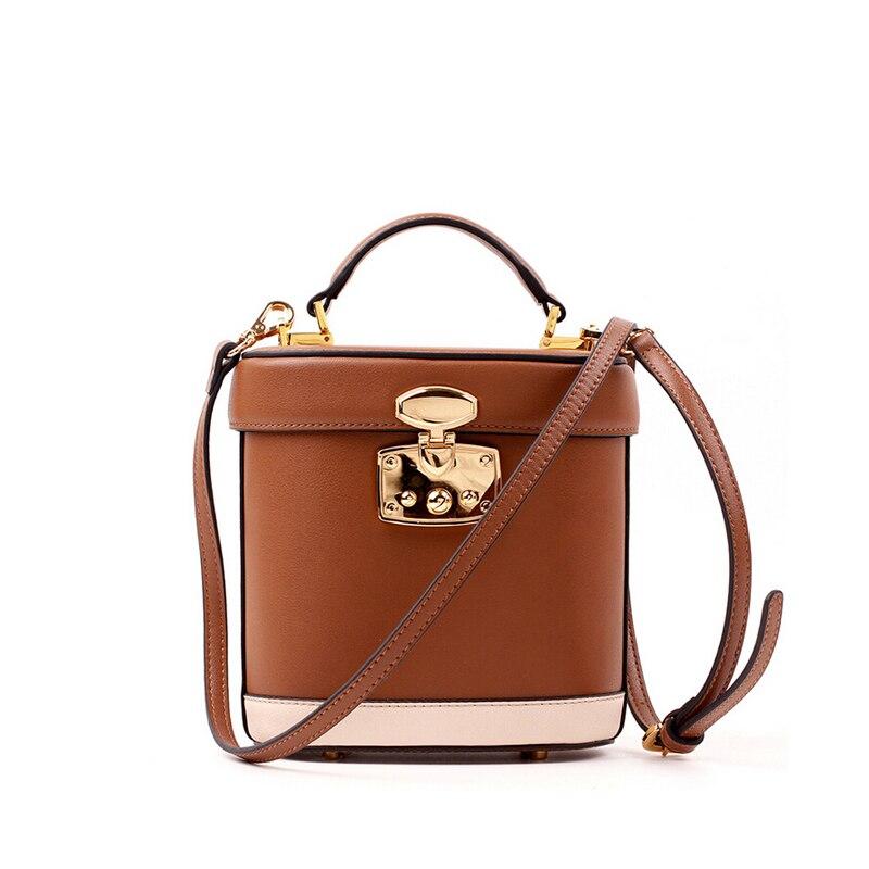 ФОТО New 2017 Design Patchwork Bucket Bag Small Tote Women Classic Split Leather Handbags Ladies Messenger Bag For Female an450